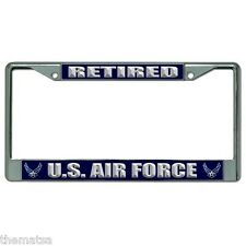 AIR FORCE RETIRED CHROME LICENSE PLATE FRAME MADE IN USA