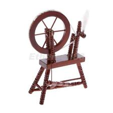 Dolls House Miniature Sewing Room Furniture Mahogany Wood Spinning Wheel