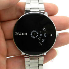 Simple NEW Quartz Watch Cool Silver Band  Turntable Dial Men's Hours Gift Q0844