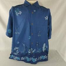 Disney Store Hawaiian Shirt Mickey Minnie Goofy Donald Blue Shirt Mens L