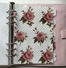 Filofax A5 Organiser Planner - Beautiful Vintage Rose Dividers - Fully Laminated
