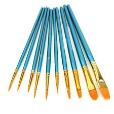10Pc Artists Paint Brush Set Acrylic Watercolor Pointed Tip Nylon Hair Pinsel DE