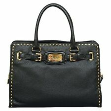 $358 MICHAEL KORS HAMILTON BLACK LEATHER WHIPSTITCHED SATCHEL TOTE PURSE BAG*NWT