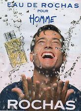 Publicité Advertising 1999  Parfum  EAU DE ROCHAS  pour homme ROCHAS