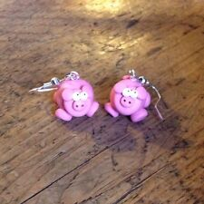 Pig earrings drops handmade gift cute nickle free emo Oink