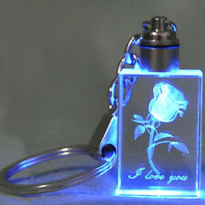 Fashion Laser Engraving Rose Heart Crystal LED Light Pendant Key Chain Key Ring
