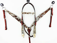 WESTERN HAIR ON BLING LEATHER HEADSTALL HORSE SHOW BRIDLE BREASTCOLLAR TACK SET