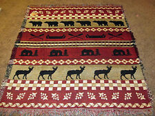 Bear Lake ~ Mountain Cabin Bear/Deer/Canoe Silhouettes Tapestry Afghan Throw