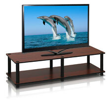 Furinno 11175DC(BK)/BK Just No Tools Wide TV Stand, Dark Cherry w/Black Tube NEW