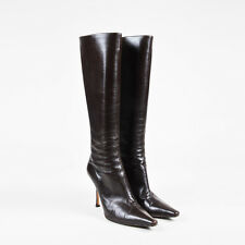 "Jimmy Choo $965 ""Coffee"" Brown Leather Pointy Toe High Heel ""Orchid"" Boots SZ 42"
