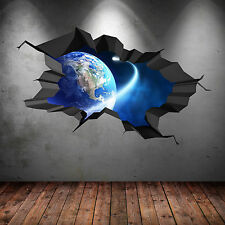 SPACE PLANET UNIVERSE GALAXY WORLD CRACKED 3D WALL ART STICKER BOY DECAL MURAL 8