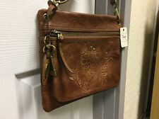Fossil Sasha Floral Embossed Crossbody Bag Brown/Tan Genuine Leather - Cognac