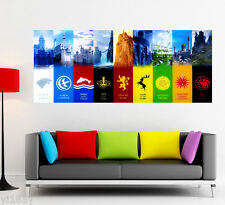Game of Thrones Poster Stark Wolf Dragon Large Banner Movies Print Art Deco