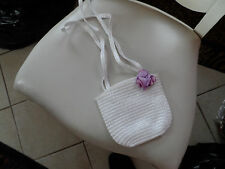 Girls white handbag with purple ribbon rose accent