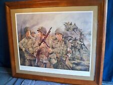 FRAMED WORLD WAR 2 MILITARY ART PRINT TRIBUTE TO THE 82ND AIRBORNE C.COLLINGWOOD