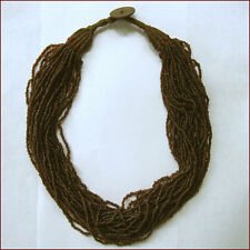 MULTI STRANDS BROWN GLASS BEADS NECKLACE TRIBAL NAGALAND ORISSA INDIA