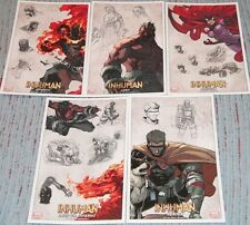 INHUMAN 5 LITHOGRAPH SET INFERNO LASH MEDUSA JOE MADUREIRA MARVEL #sdec15-154
