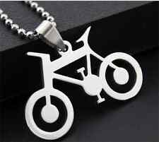 Bicycle Womens Men's Silver 316L Stainless Steel Titanium Pendant Necklace A1