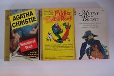 Pocketbooks 3 Paperback Book Collection Fiddler, Mutiny, Agatha Christie