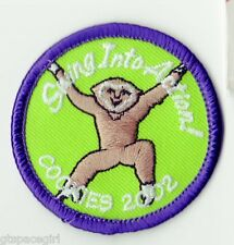 Girl Scouts Embroidered Badge Patch~2002~Swing into Action Monkey~Round