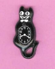 DOLLHOUSE MINIATURES BLACK CAT RETRO LIKE CLOCK HANDMADE