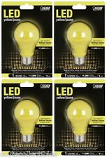 (4 Pack) Yellow LED 60W Equivalent 5W Feit BUG Light Bulb