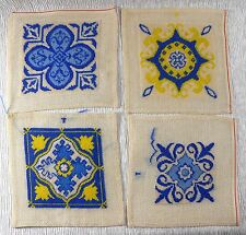"4 Vintage Completed 7"" PETIT POINT BLOCKS - Pillow QUILT Table Runner PLACEMATS"