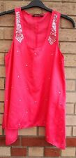FLORENCE FRED PINK FUCHSIA BEADED STUDS PARTY HANKY HEM TUNIC BLOUSE TOP 18