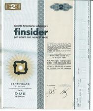 FINSIDER 2 AZIONI CERTIFICATO AZIONARIO 1968 SIDERURGICA - STOCK CERTIFICATE
