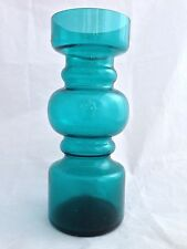 "7.25"" TEAL Hooped MOULD Blown Art Glass vase / retro / Scandinavian or japanese"