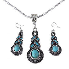 Fashion Tibetan Silver Blue Turquoise Chain Crystal Pendant Necklace Earring Set