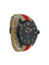 Fila Matchday Women's Black Round Analog Date Tan Red Boyfriend Style Watch