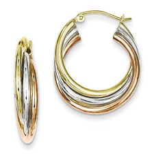 925 Sterling Silver Tri Color Gold Plated Polished Hinged Post Hoop Earrings