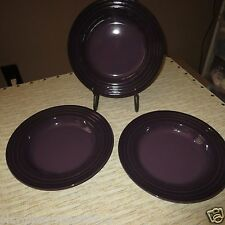 "LE CREUSET CASSIS PURPLE 10"" RIMMED SOUP PASTA BOWLS-SET OF 3- NEW!"