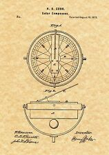Patent Print - Antique Solar Compass 1873 - Art Print. Ready To Be Framed!
