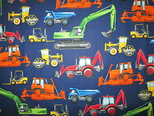 CONSTRUCTION VEHICLES DUMP TRUCKS DIGGERS BLUE COTTON FABRIC FQ