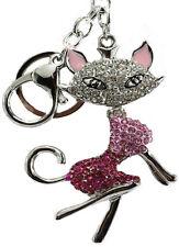 Cute Ladies Girls Cat DIAMANTE Keyring Bag Charm KeyChain Gift