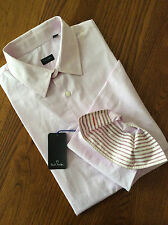 PS BY PAUL SMITH PALE PINK & WHITE STRIPE LONG SLEEVE SHIRT SIZE M