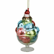 "TR83367 4.5"" Ice Cream Sundae Dessert Glass Christmas Ornament Blue Pink Green"