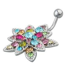 Flower Crystal Rhinestone Belly Navel Ring Body Piercing Jewelry Surgical Steel
