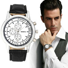 Geneva Men Business Design Dial Watches Leather Band Analog Quartz Wrist Watch