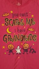 LADIES HALLOWEEN SS T-SHIRT GRANDMA YOU CAN'T SCARE ME I HAVE GRANDKIDS Med 8-10