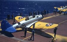 COLOR WWII Photo US Navy Planes on Carrier  WW2 / 5020