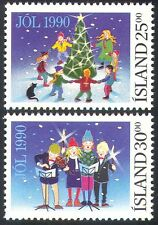 Iceland 1990 Christmas/Tree/Stars/Music/Cat/Greetings/Animation 2v set (n20268)