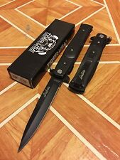 "9"" STILETTO Black Blade Black Wood Handle Spring  ASSISTED Pocket KNIFE"