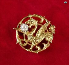 Awesome Vintage 18K Yellow Gold Dragon Brooch with 0.40 CT Rose Cut Diamond