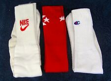 3 Pair Vintage 1970's ATHLETIC TUBE SOCKS Mens Soccer Softball NIKE CONVERSE CHP