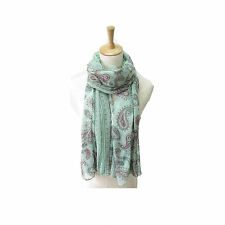 JL Antique Green Long Paisley Fashion Scarf 100% Polyester