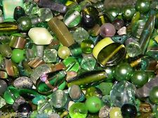 NEW GLASS 100's of GREEN'S 8-15mm MIXED LOOSE BEADS LOT MIXED colors