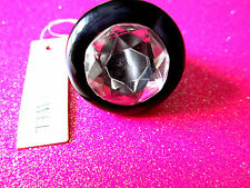 Black Acrylic Faceted Ring Size 6.5